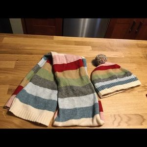 Old navy rainbow scarf and hat